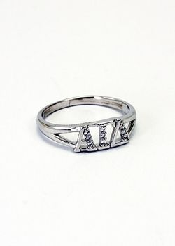 Alpha Gamma Delta Sterling Silver Ring set with Lab-Created Diamonds SALE $39.95. - Greek Clothing and Merchandise - Greek Gear®
