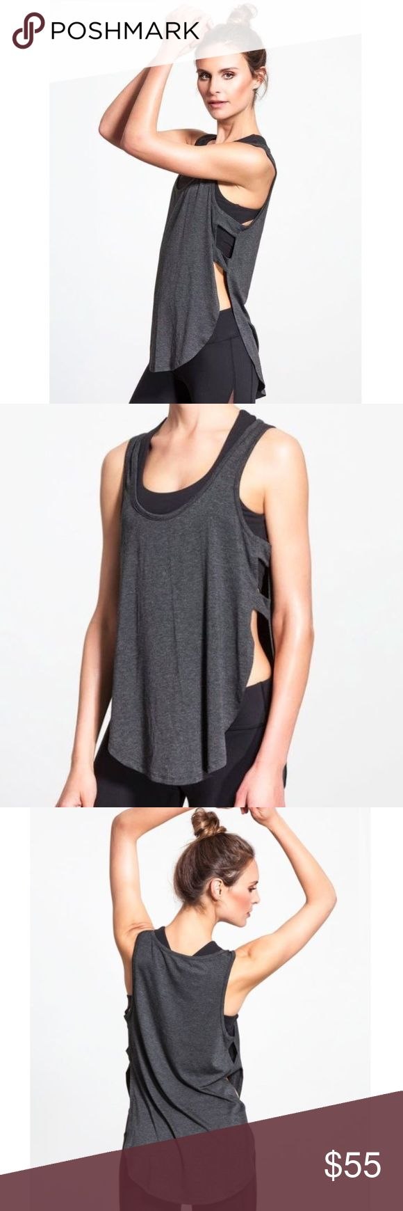 Beyond Yoga Heathered Open Side Circle Tank beyond Yoga Open side tank. New with tags. Size large( I'm a small and fits good no drooping in the front just a bit longer in length) Beyond Yoga Tops Tank Tops