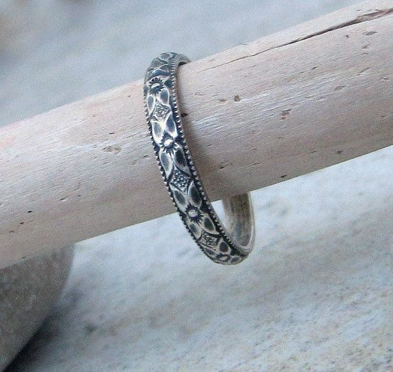 Thin Wedding Ring Silver Floral Wedding Band by SilverSmack
