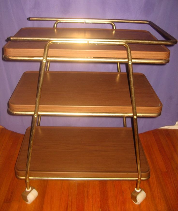 Vintage Metal 3 Tier Rolling Kitchen Utility Cart