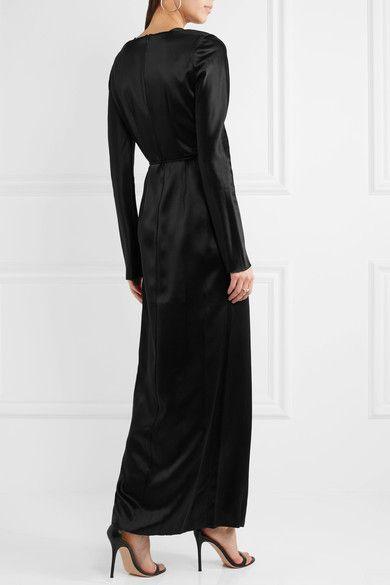 Black silk-satin Concealed zip fastening along back 100% silk Dry clean Designer color: Ink