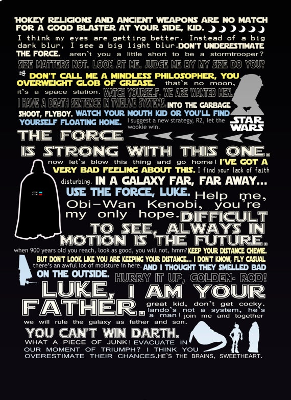 Star Wars Quote | Star Wars Funny Quote Print 11x14 By Studiomarshallarts On Etsy