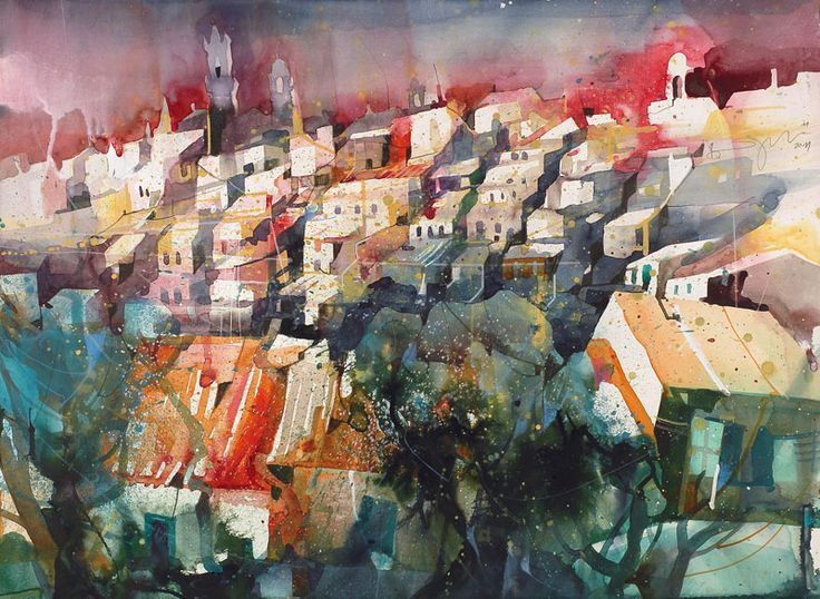 Bernhard Vogel: 8th November 2012   Montalcino II, Tuscany #watercolor jd