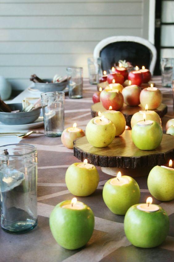 ombre apple votives wedding centerpiece / http://www.himisspuff.com/apples-fall-wedding-ideas/9/