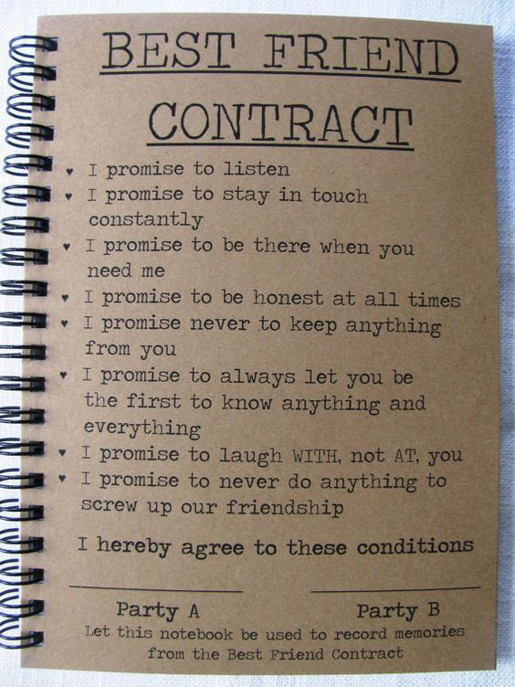 Best Friend Contract - 5 x 7 journal