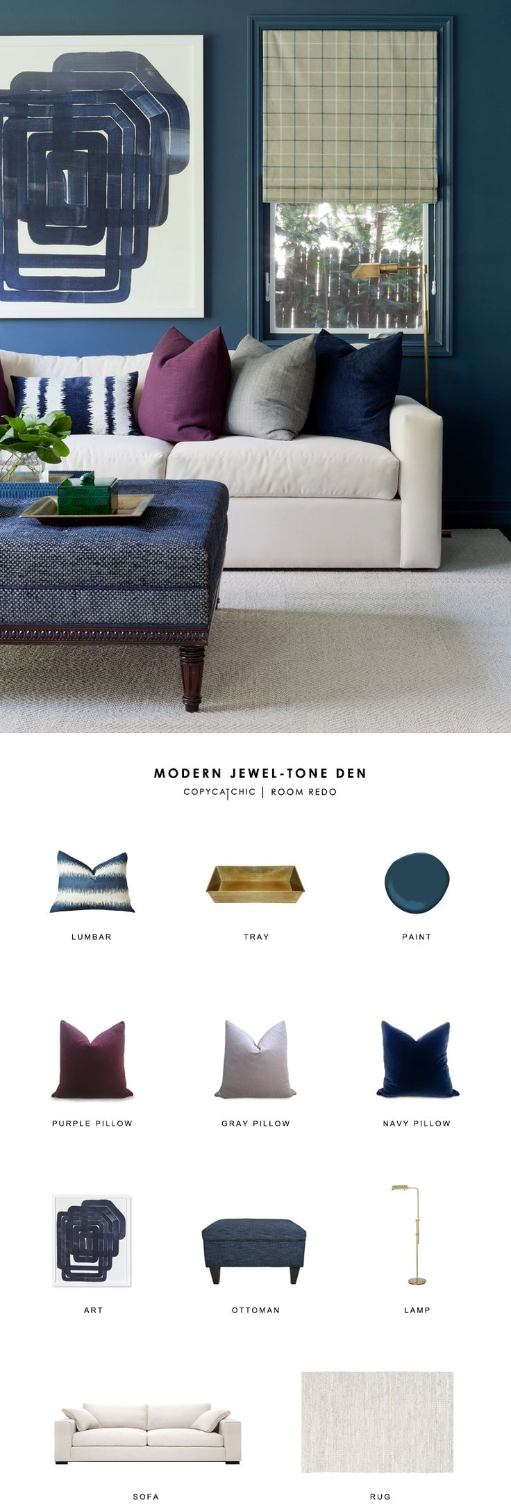 A jewel-toned modern living room by Jenn Feldman Designs gets recreated for less by copycatchic luxe living for less budget home decor and design