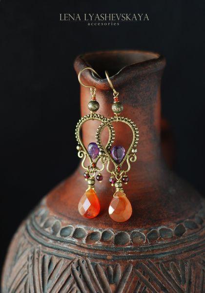 "Handmade earrings. Fair Masters - handmade Earrings ""ORANGE CINNAMON."" Handmade."