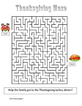 Free Thanksgiving Maze Tpt Good Deals Thanksgiving