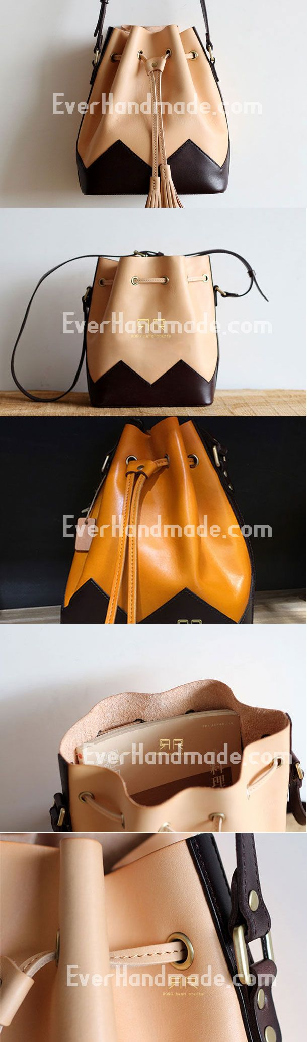Handmade Leather bucket purse for women crossbody bag leather