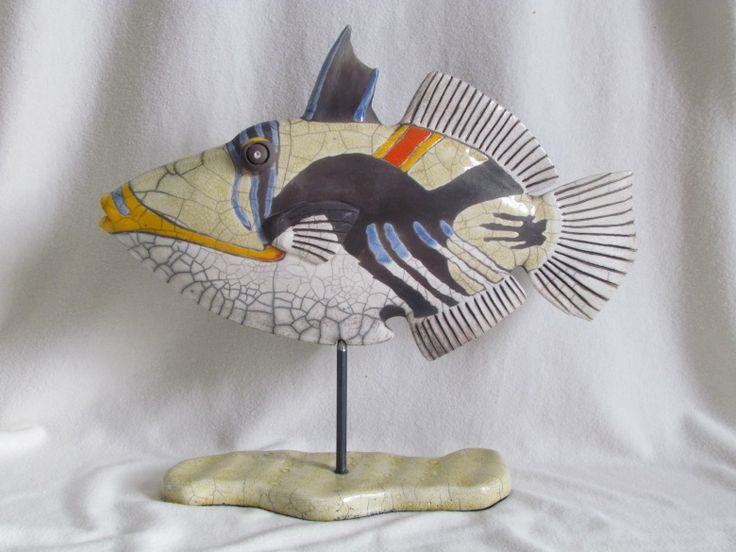 Sculpture raku animaux poisson baliste picasso c ramique - Gres ceramique ...