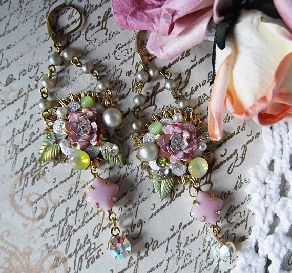 Roses Filigree Vintage Rhinestones and Crystals by MockiDesigns, $52.00