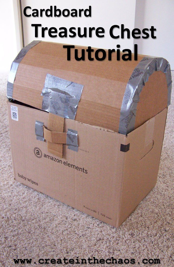 Cardboard Pirate Treasure Chest tutorial - makes a fun treasure chest! www.createinthechaos.com