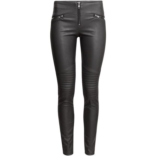 H&M Biker leggings found on Polyvore featuring pants, leggings, bottoms, jeans, trousers, black, embellished leggings, black stretchy pants, black stretch pants and stretch pants