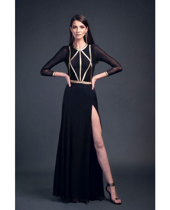 Rochie lungă din voal negru cu bust accesorizat