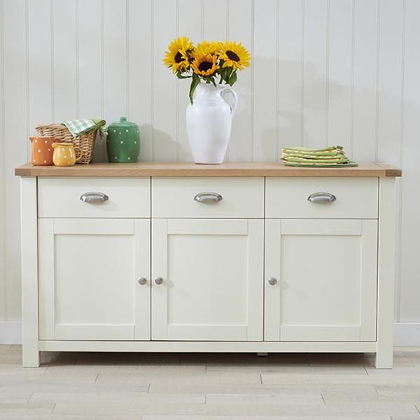 Sandringham Solid Oak Sideboard (Sizes 2 Door 2 Drawer/3 Door 3 Drawer/4 Door 4 Drawer) -Cream - 3 Door 3 Drawer - SideBoard - Mark Harris - Space & Shape - 2