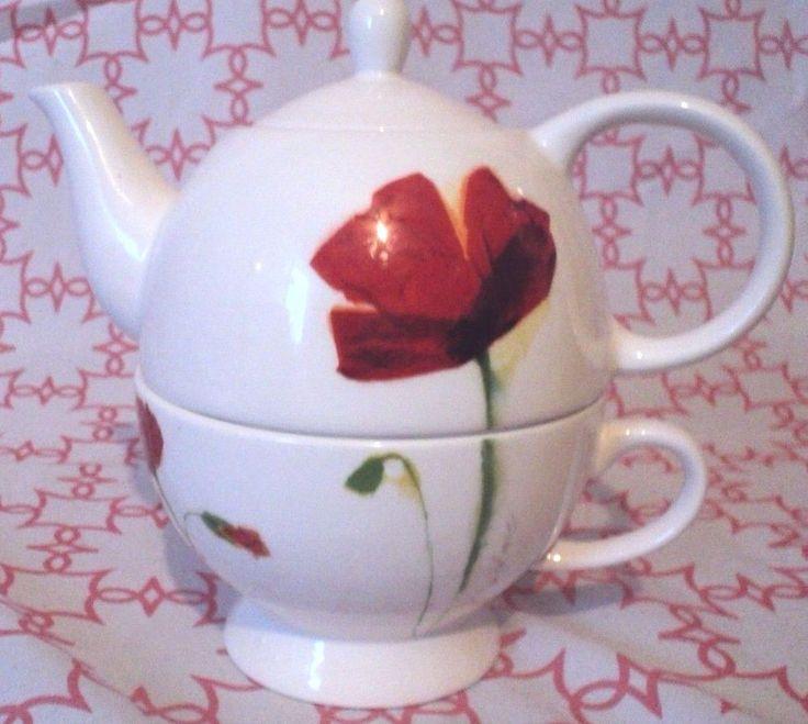 Skye McGhie Watercolors Stacking Individual Tea Pot & Cup Fine Porcelain 2006   eBay