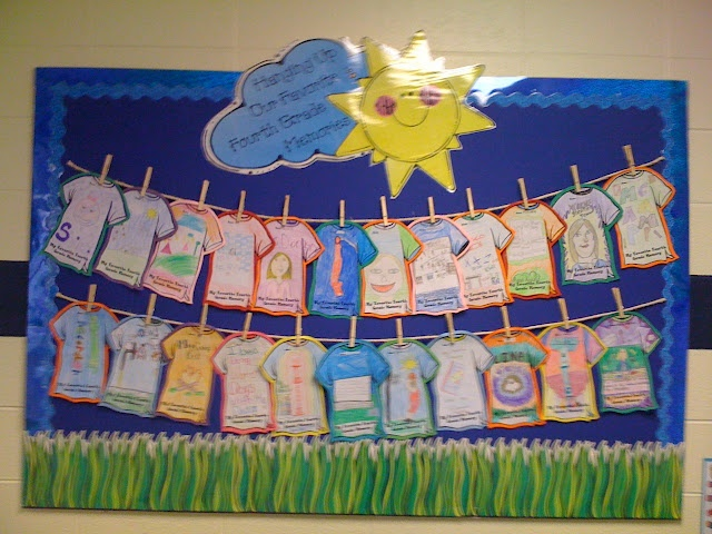 """bulletin for the end of the year?    """"hanging up our favorite kindergarten memory"""""""