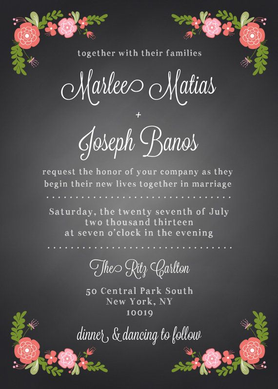 Spanish Rose Chalkboard Wedding Invitation Suite 2 DIY Printable