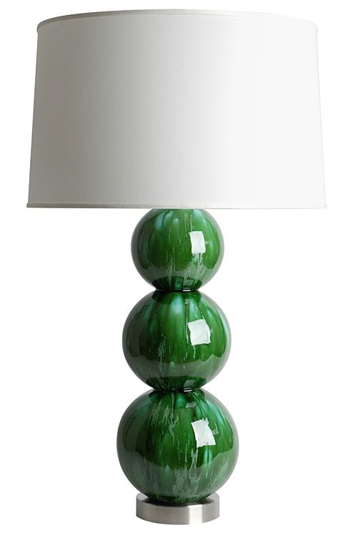 Emerald Green Table Lamp - Not sure if I prefer the green base and white shade or a white base with a green shade.