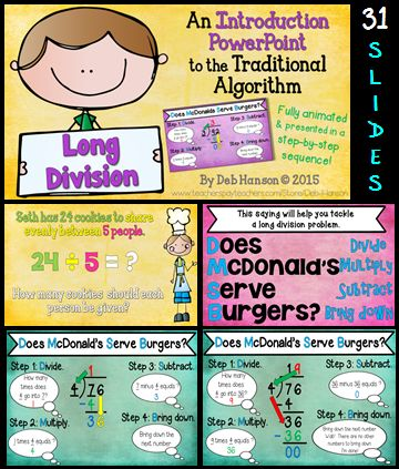17 Best ideas about Division Algorithm on Pinterest   Teaching ...