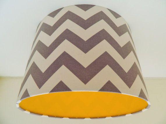 Grey Chevron Fabric & Yellow Vinyl Lampshade by MakeHayDesign