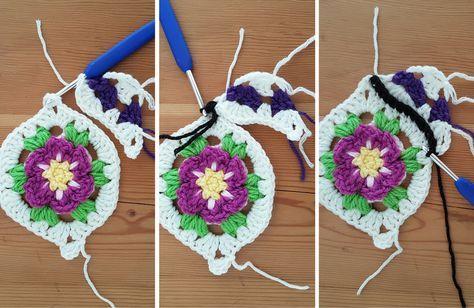 El jardín marroquí: patrón de crochet libre de un mosaico floral con las mitades y cuartos piezas para cuadrar. Hacer mantas, tiros, afganos, bufandas, bolsos, chales - nada!