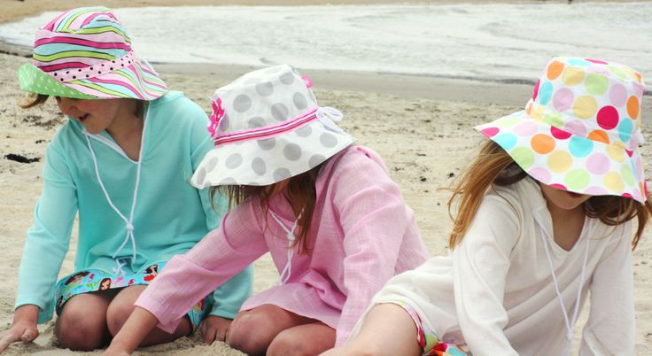 Reversible Sun Hats and Lightweight Sun Tunics for girls, sizes from Newborn to 10yrs
