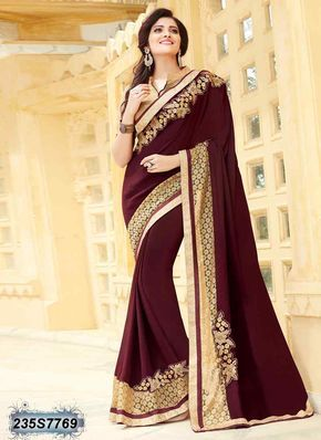 Alluring Brown Coloured Georgette Embroidered Saree