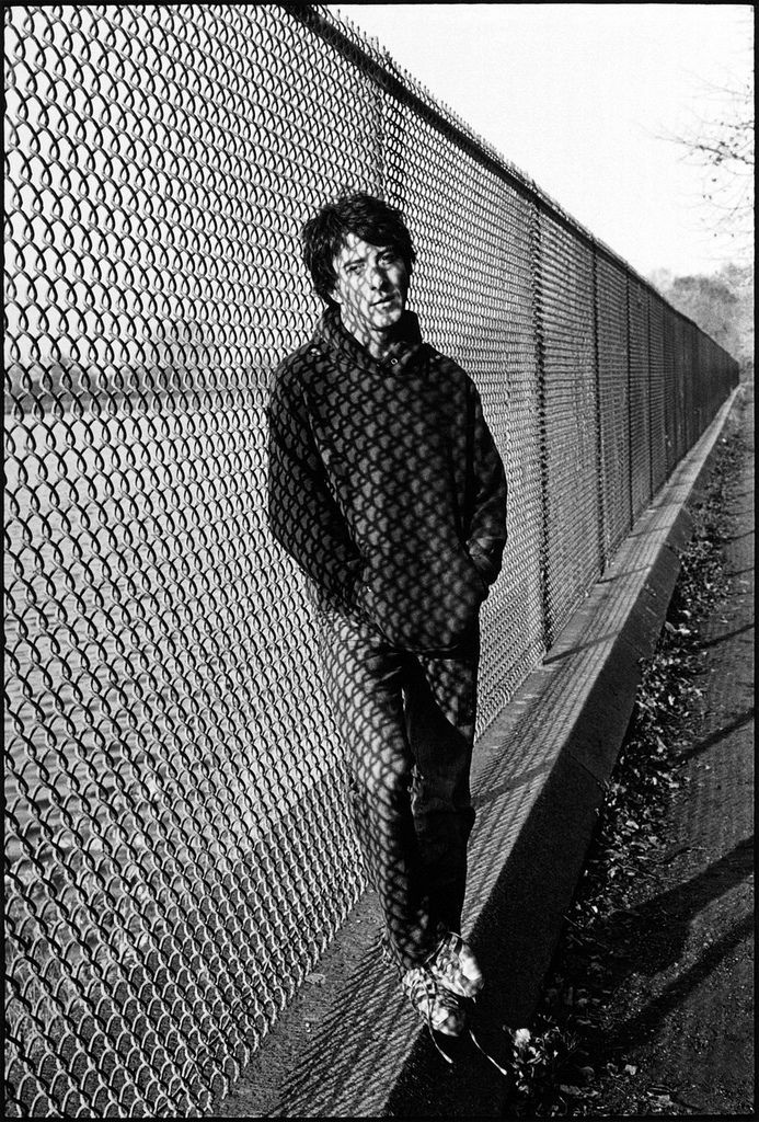 Dustin Hoffman at the resevoir in Central Park between takes for 'Marathon Man', New York City, 1975. Photo by Mary Ellen Mark.