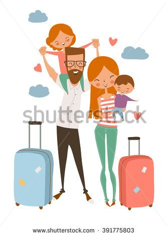 happy family/ traveling family on vacation/ cute cartoon family - stock vector