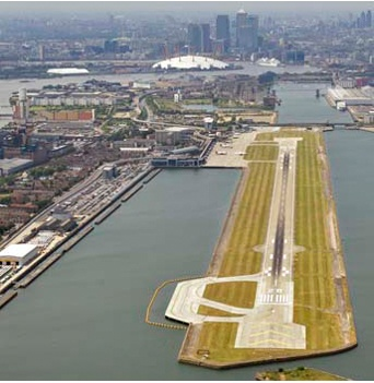 London City Airport, one of the SIX airports that serve the London metropolitan area.