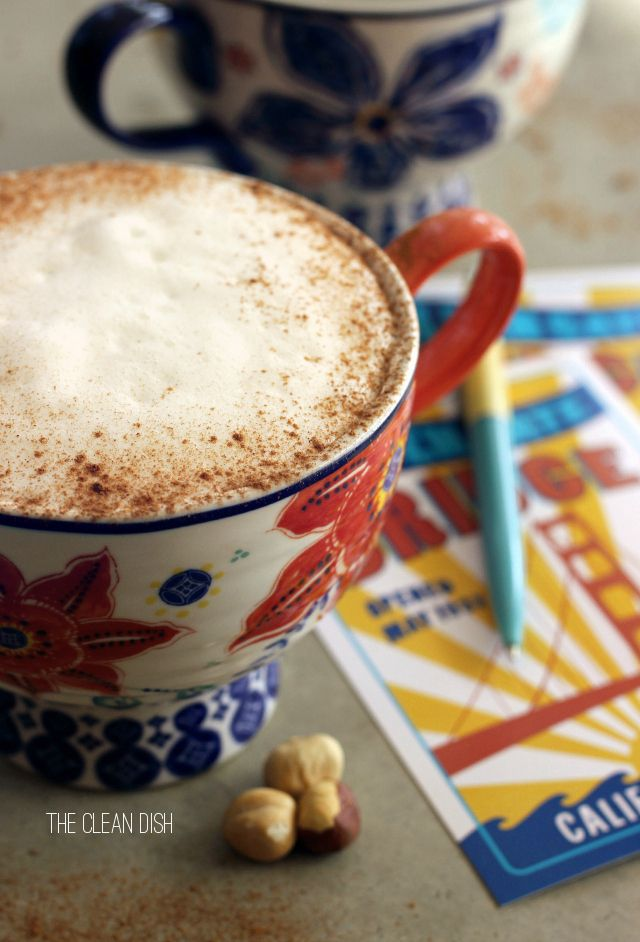 Vegan Caffè Latte With Frothy Homemade Hazelnut Milk - Don't like adding milk to my coffee, but love hazelnut- so this dairy free version is perfect!
