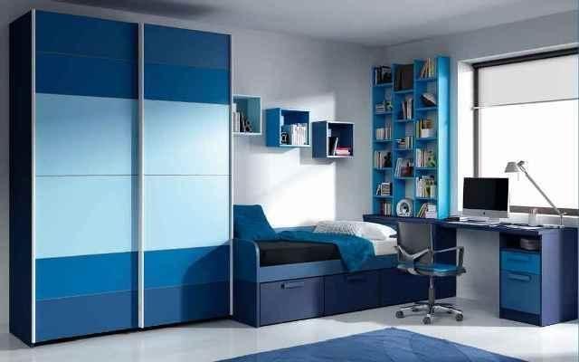 Dormitorio juvenile en tonos azules zb muebles zaragoza - Habitaciones juveniles zaragoza ...