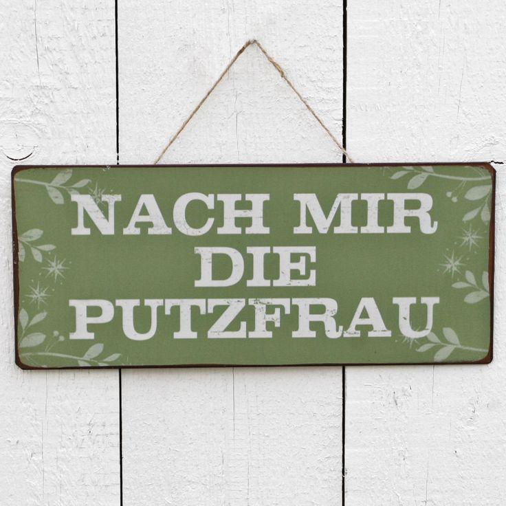 """Shabby Spruchschild """"MACH MIR DIE PUTZFRAU"""" Metallschild Nostalgie Blechschild   eBay"""