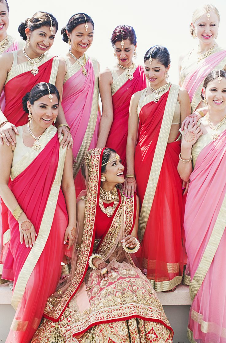 Bridal Party Saree Style From Https Www Theknot Real Indian Bridesmaid Dressesindian