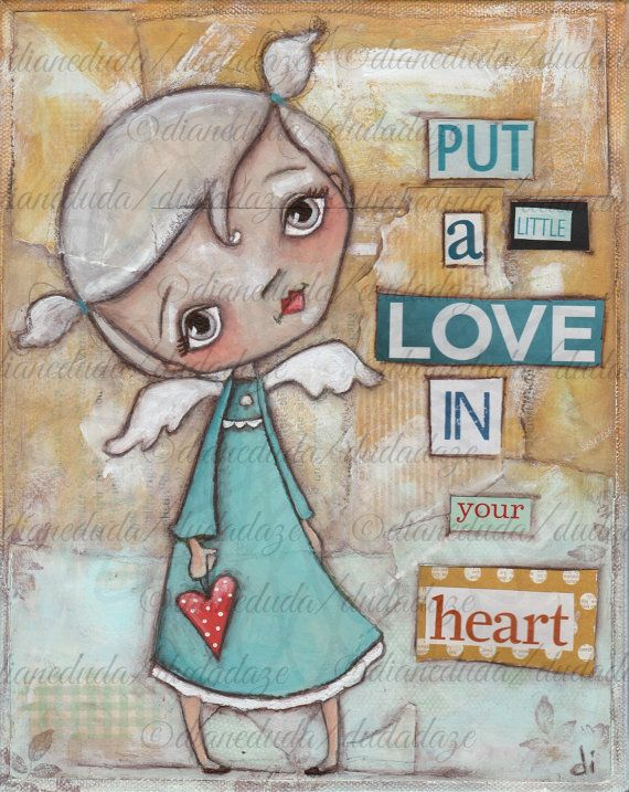 Print of my original mixed media painting A LIttle Love by DUDADAZE, $10.00