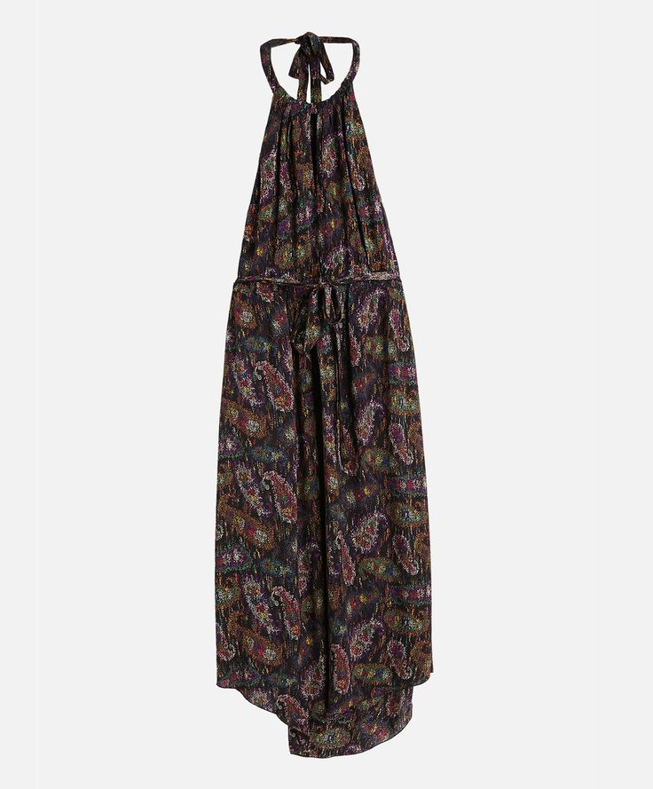 Long halter neck dress with dotted paisley print