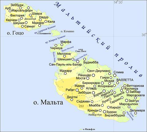 Отдых на Мальте - Карта Мальты, мальтийский архипелаг