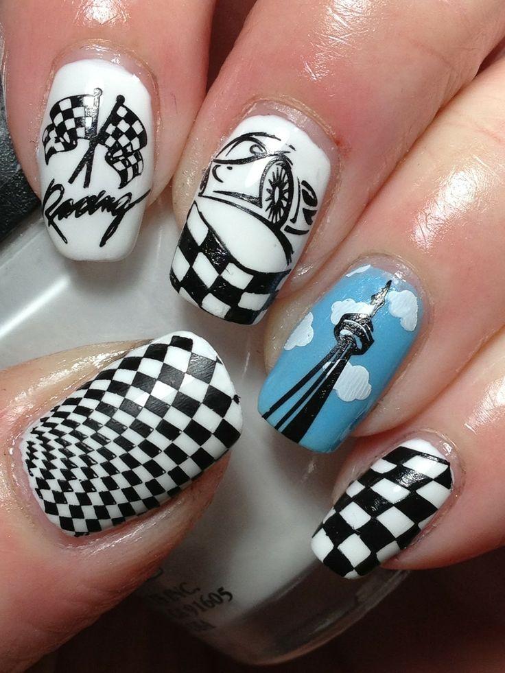 Racing car nail art Wish I was this talented!