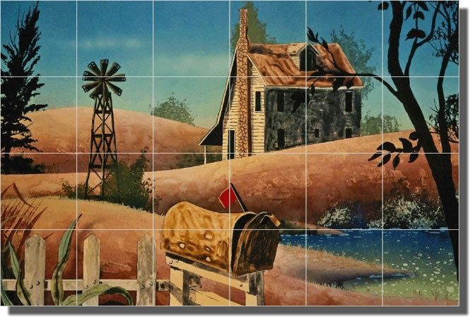 Country Farmhouse Art Ceramic Tile Mural Backsplash