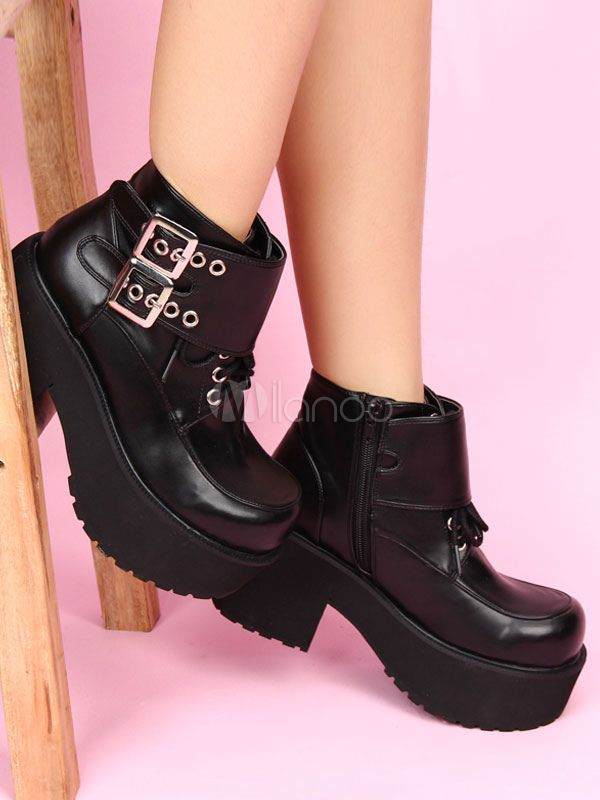 18a68364e10 Black Lolita Boots Chunky Heel Platform Lace Up Lolita Shoes #Boots ...
