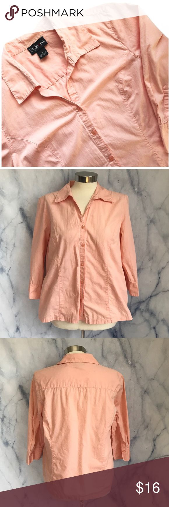 Style & Co Peach Button Down Shirt Light peach color, button down blouse with cream buttons, collar, 3/4 sleeve. 100% cotton. Style and Co from Macys size 14. Style & Co Tops Button Down Shirts