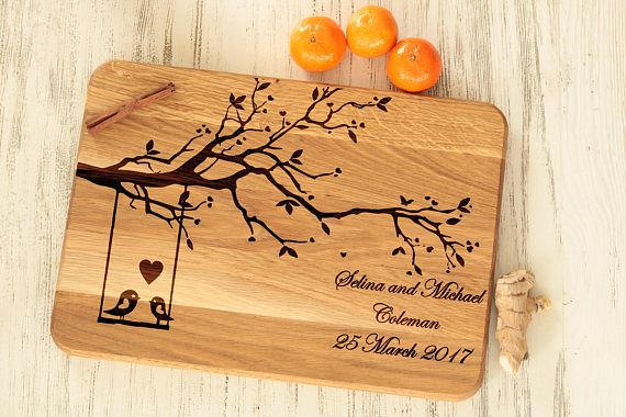 Unique Engagement Gift for Bride Personalized Cutting Board Wedding Gift for Couple Wood Kitchen Decor Engraved Present Tree with Love Birds