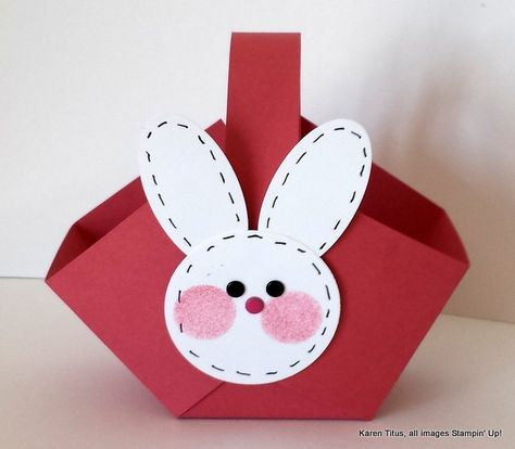 Quick & easy Easter basket to make for your table. All you need is card stock and a few punches.