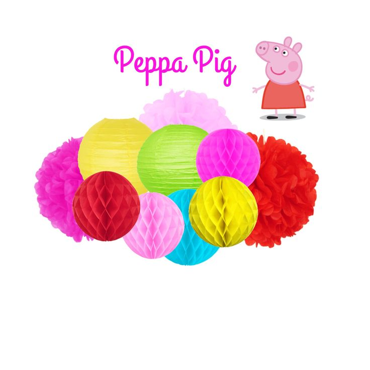 Peppa Pig Party Decoration - Hanging Decoration by LovelyPartyStudio on Etsy https://www.etsy.com/listing/456889696/peppa-pig-party-decoration-hanging
