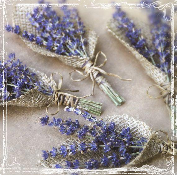 Lavender And Burlap Boutonniere - Herb Weddings - European Elegant Wedding - Purple Dried Flower - Groomsmen, Groom - Herbal Lapel Pin