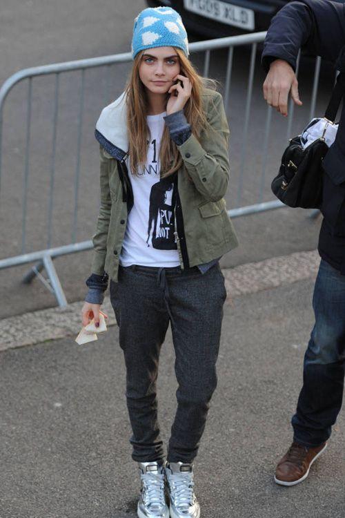 Cara Delevingne, beanie, street style, model off-duty. http://www.allsole.com/home.dept?affil=thgsocial