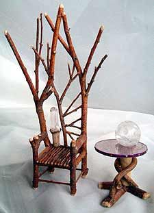 fairy houses, twig furniture from twigwizardry.com http://www.uk-rattanfurniture.com/product/1-scale-dollhouse-rattan-wicker-bench/