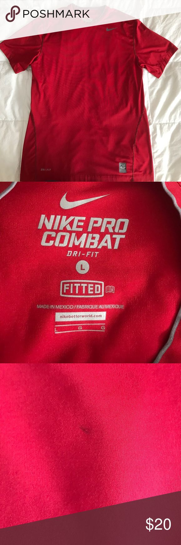 Men's Nike Pro Combat Dri-Fit Short Sleeve Shirt Men's Nike Pro Combat Dri-Fit Short Sleeve Shirt - Small Stain on Front Towards The Bottom Nike Shirts