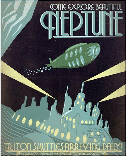 Retro Scifi Neptune Travel Poster   8x10 by IndelibleInkWorkshop, $16.00